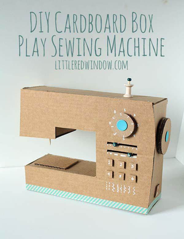 máy may làm từ thùng giấy