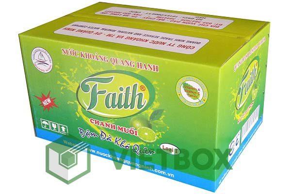 thùng carton nước khoáng Faith in offset