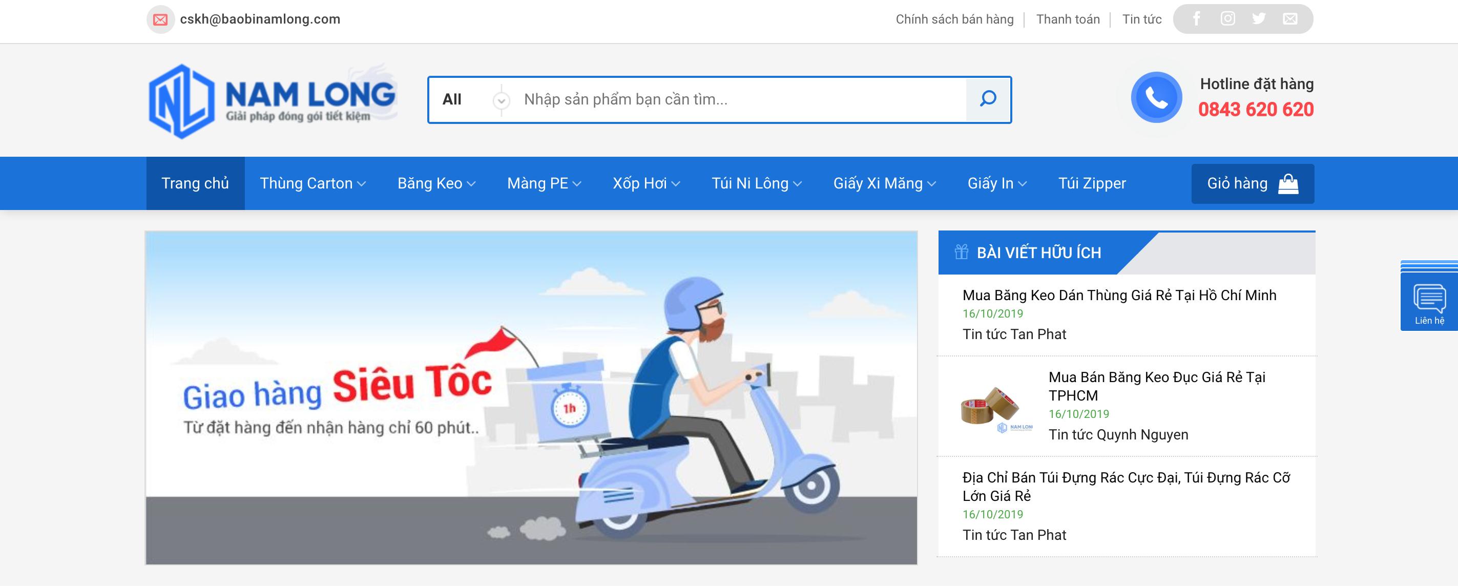 Website công ty bao bì Nam Long