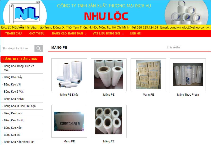 Website công ty Như Lộc cung cấp màng PE